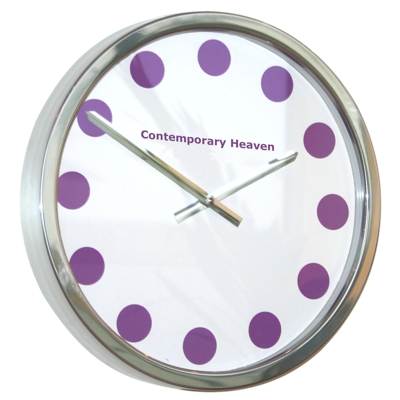 Roco Verre Purple Coloured Spots Clock