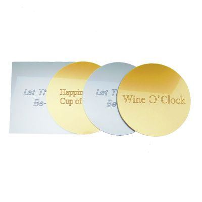 Custom Engraved Metallic Acrylic Coaster Sets