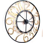 French Numbers Gold and Black Skeleton Wall Clock
