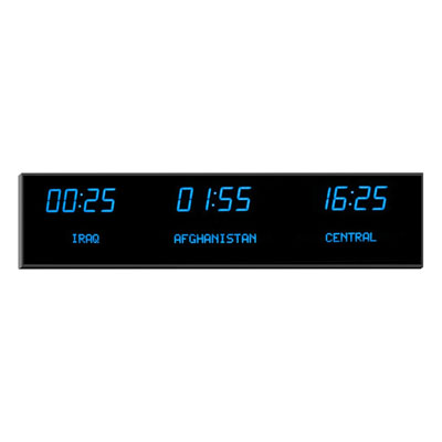 "Roco Verre Deluxe Digital Time Zone Clock 2.5""Blue"