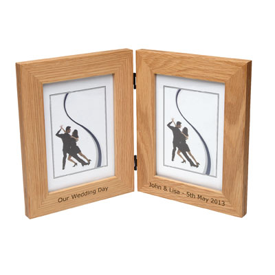 Solid Oak Dual Photo Frame Personalized