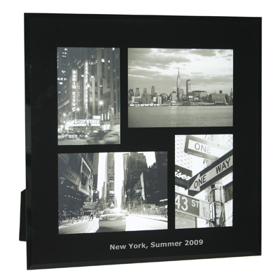 Black Bevelled Glass Four Picture Photo Frame