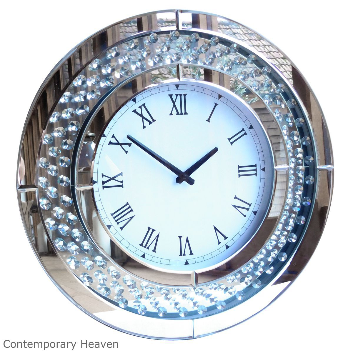 Jewel Crystal Round Bevelled Mirror Wall Clock Uk