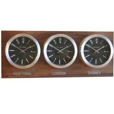 Roco Verre Custom Time Zone 3 7 Clocks Walnut