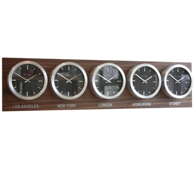 Roco Verre Custom Time Zone 5 7 Clocks Walnut