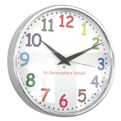 10 Colour Comic Sans Modern Classic School Clock