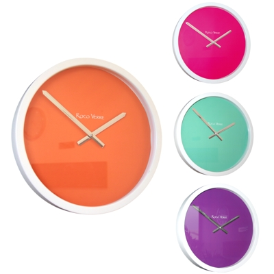 Roco Verre White Block Colour Clock