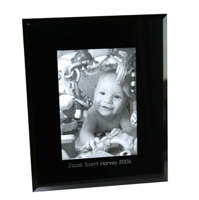 Portrait 10 x 8 Black Bevelled Glass Photo Frame