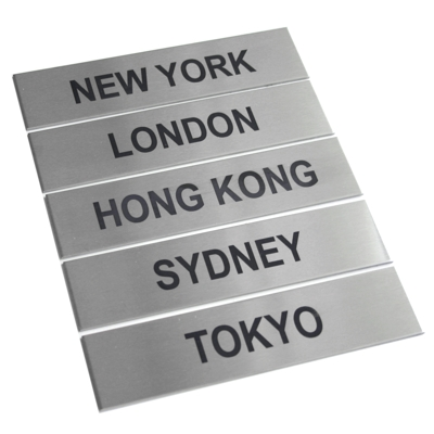 5 x Brushed Stainless Steel City Signs
