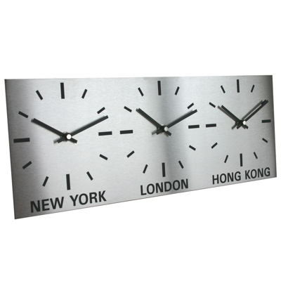 Triple Dial Brushed Stainless Steel Clock