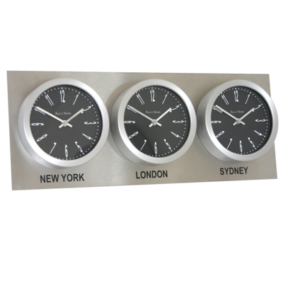 Roco Verre Custom Time Zone 3 7 Clocks Steel