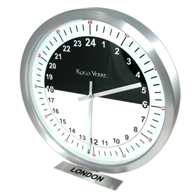 24hr Timezone Day & Night Modern Classic Clock Brs