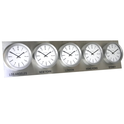 Roco Verre Custom Time Zone 5 7 Clocks Steel