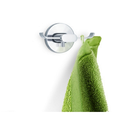 Blomus Areo Brushed Stainless Steel Twin Wall Hook with green towel