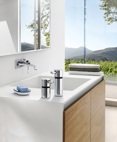 Blomus Areo Polished steel Soap Dispenser Small on bathroom basin