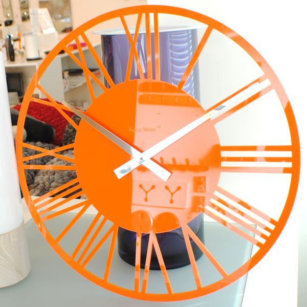 Gloss Orange Skeleton Wall Clock Close Up