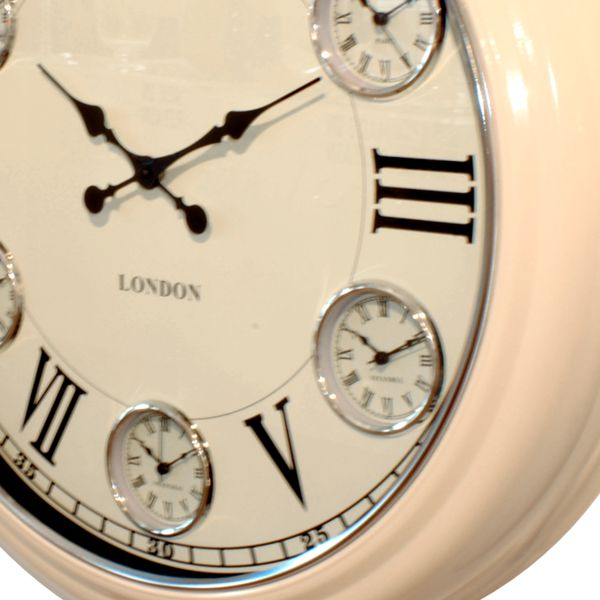 Side View Of Timezone Wall Clock With Cream Metal Case, Cream Dial With  Black Roman ...