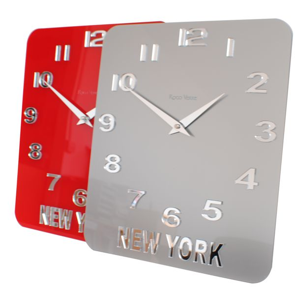 silver and red glass acrylic timezone wall clocks