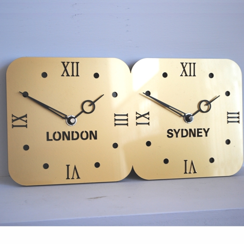 double gold acrylic timezone wall clock