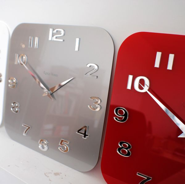 Red Silver Roco Verre Acrylic Gloss Modern Retro Wall Clock Black