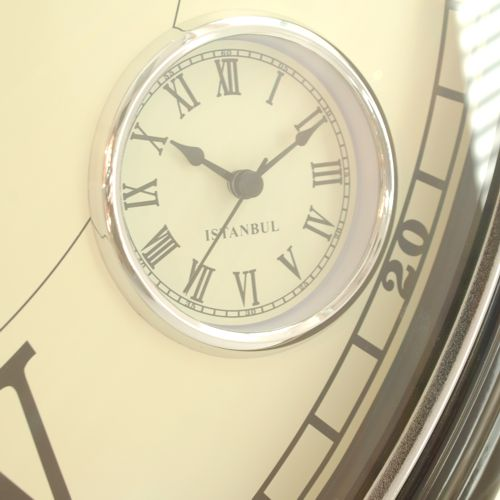 close up of small dial on larger cream clock face