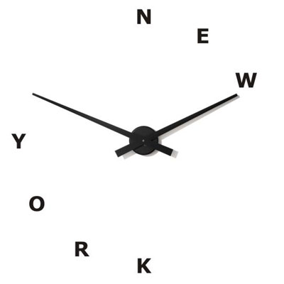 simple black hand wall clock with new york lettering