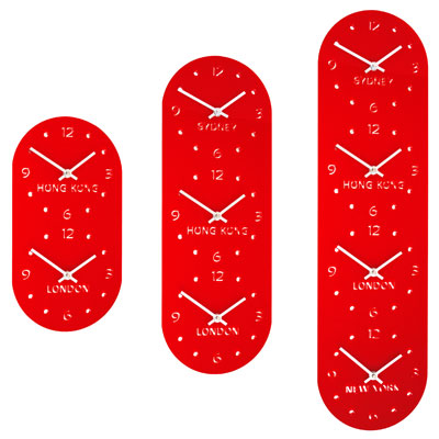 close up of 3 red gloss acrylic vertical timezone clocks with silver digits and hands