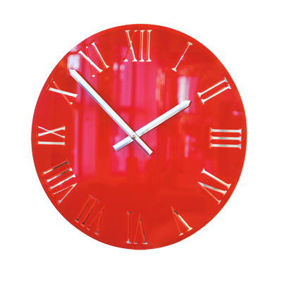 large round gloss red modern acrylic wall clock with mirrored roman numerals and chrome hands