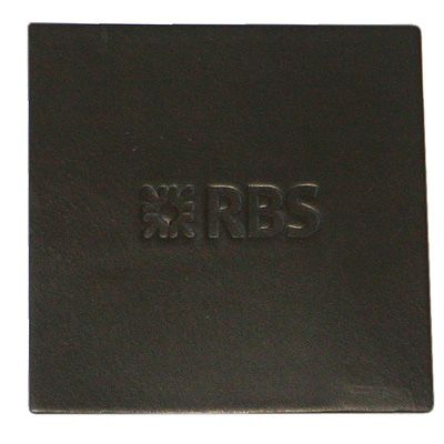 dark brown square leather coaster with embossed company logo