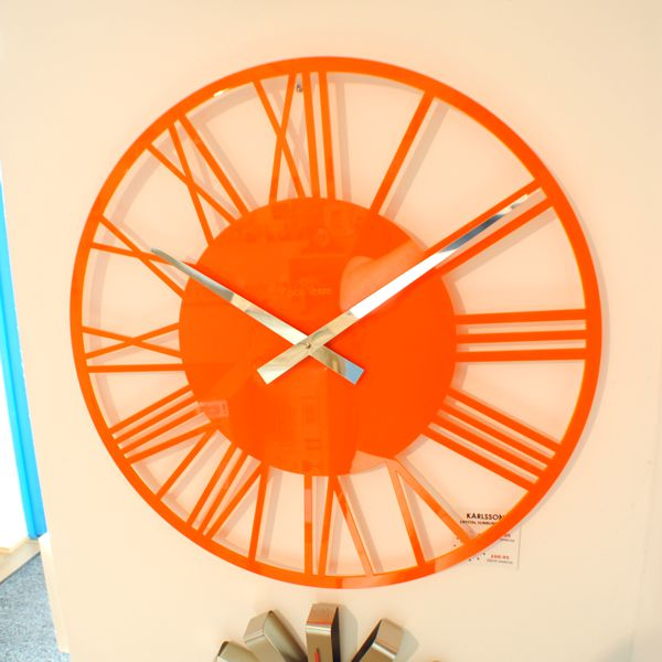 Gloss Orange Skeleton Wall Clock Situ
