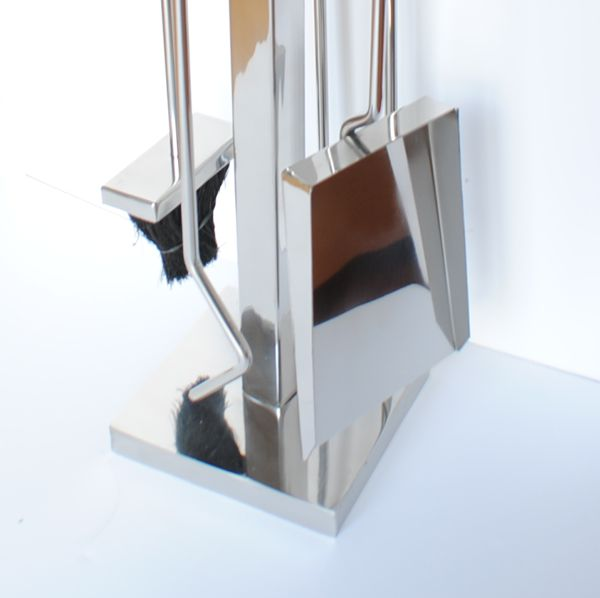 Boston Leather Chrome Modern Fireplace Tools