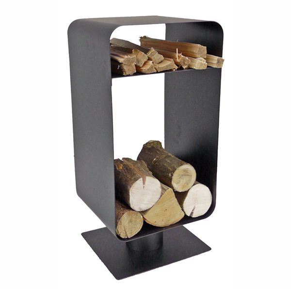 Modern Black Metal Log Holder On Stand With Logs In The Base And Kindling  On A ...