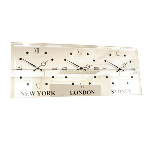 in situ mirror wall clock with three time zones