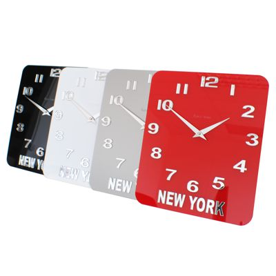 red, silver, white and black glass acrylic timezone wall clocks
