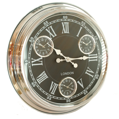 black and chrome version of timezone wall clock with metal case, black dial with white roman numerals and 3 additional dials