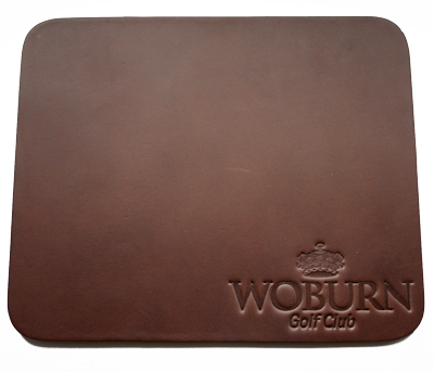 brown square leather coaster with embossed company logo