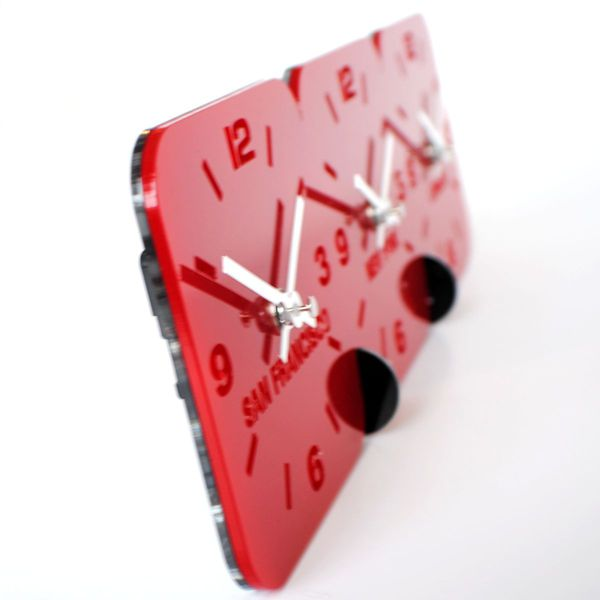 red side view Roco Verre Acrylic Desk Table Time Zone Clock