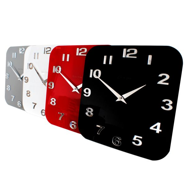 white-red-silver-black-gloss-Roco Verre Acrylic Gloss Modern Retro Wall Clock