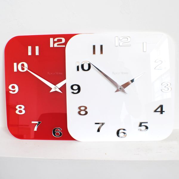 ... White Black Roco Verre Acrylic Gloss Modern Retro Wall Clock ...