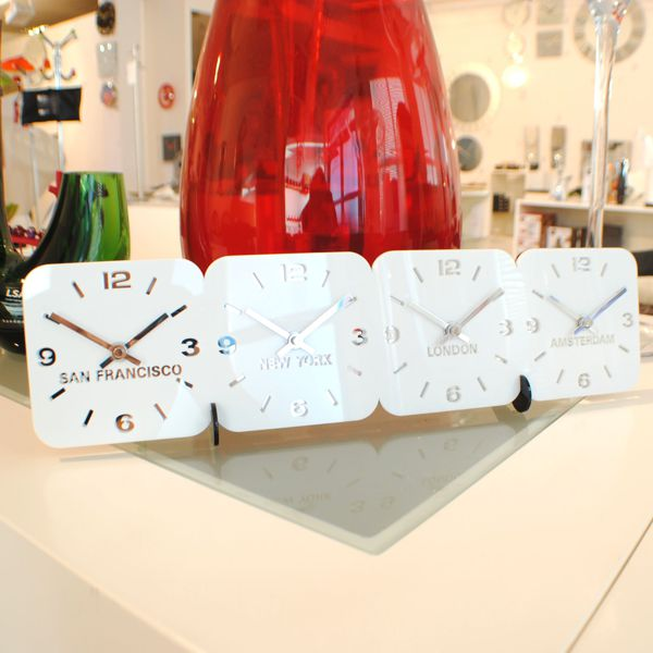 white Roco Verre Acrylic Desk Table Time Zone Clock