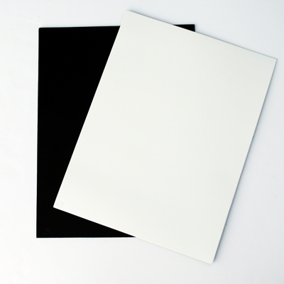 black and white leather placemats