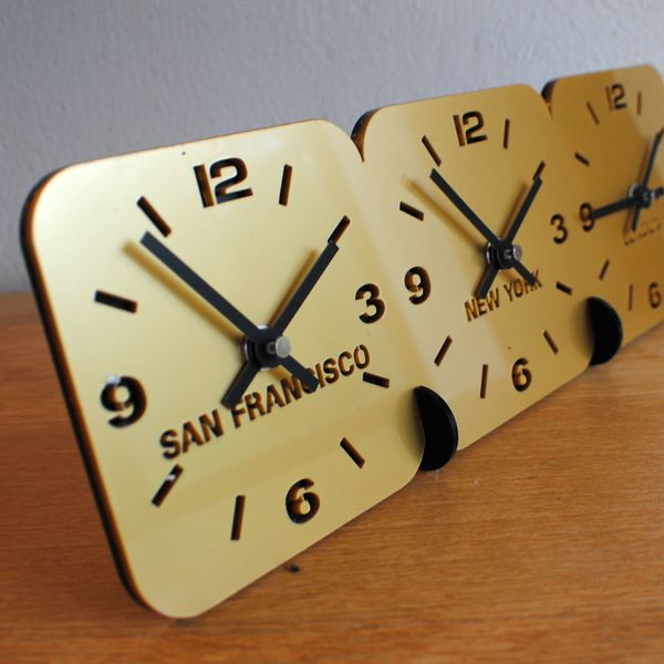 gold Roco Verre Acrylic Desk Table Time Zone Clock