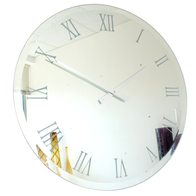 large round bevelled mirror wall clock with white roman numerals and chrome hands