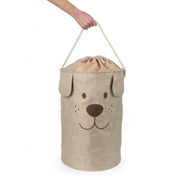 Woof Laundry Hamper Brown with carry handle
