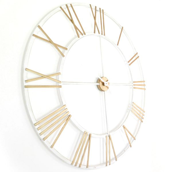 Gold and white Skeleton Wall Clock