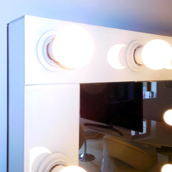 Gloss White Close up Bevelled Hollywood Wall Mirrors