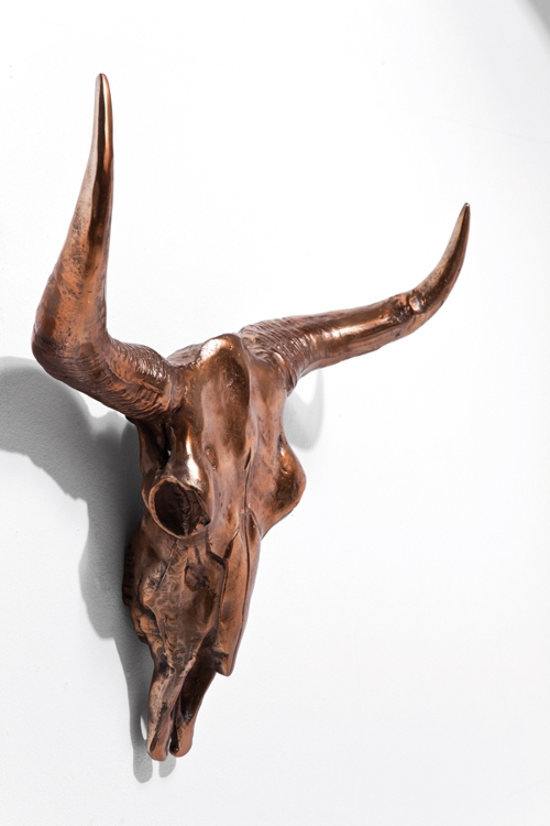 Side view of Kare Skull Wall Decor Trophy Head Copper
