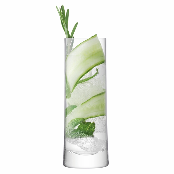 tall gin and tonic glass filled with sliced cucumber