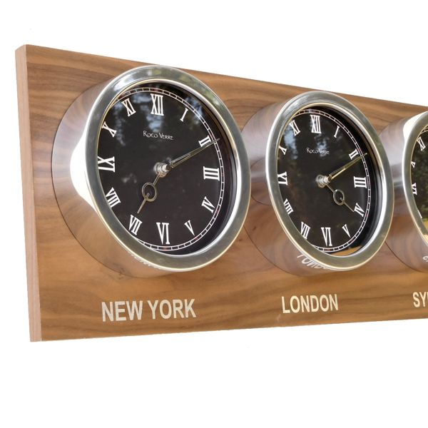 black dial Custom Time Zone World Roman Clocks Walnut Back