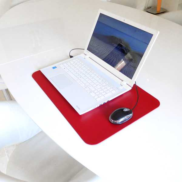 red Extra Large Luxury Leather Desk Mat Laptop Pad